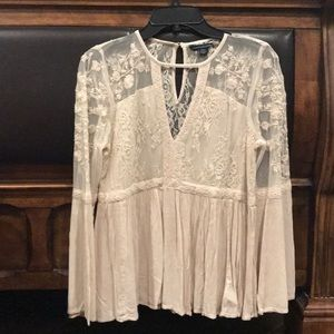 American Eagle Lace And Embroidery Blouse
